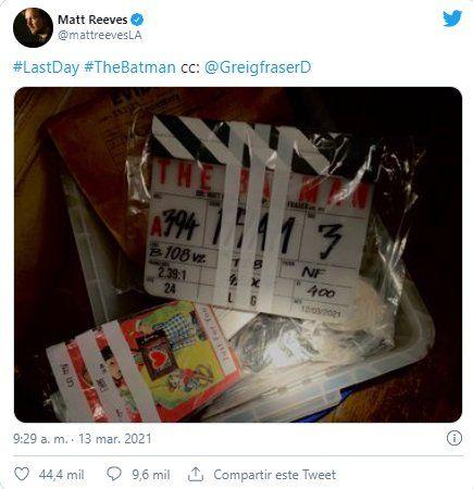 Este es el tuit que publicó el director de The Batman