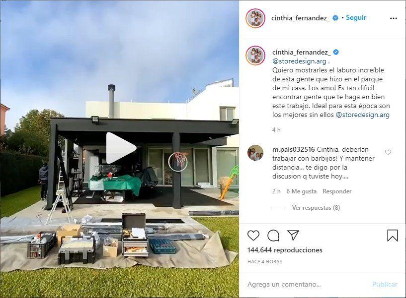 Cinthia Fernández compartió un polémico video en Instagram