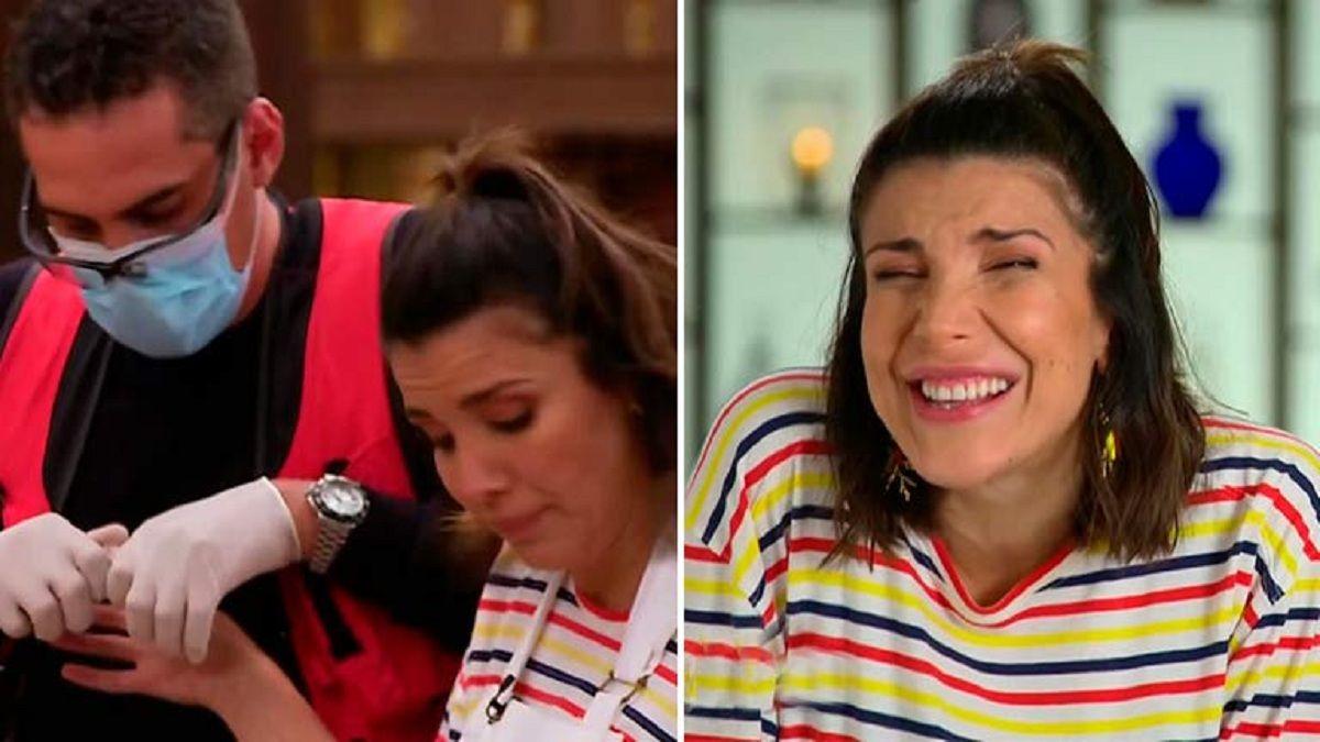 Andrea Rincón tuvo que ser atendida tras un accidente en Masterchef Celebrity