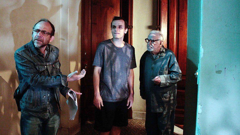 El actor Pepe Soriano durante la filmación de nocturna