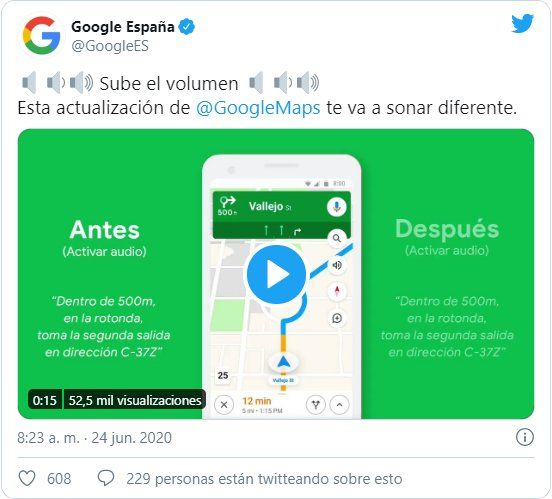 La compañía anunció la nueva voz de Google Maps