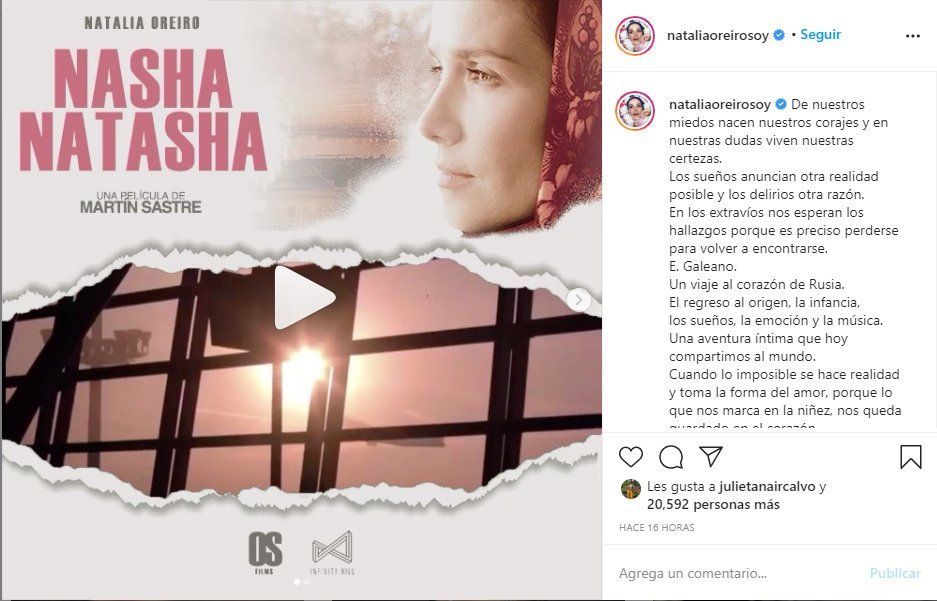 Oreiro compartió en su Instagram el trailer del documental Nasha Natasha