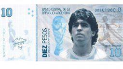 Proponen a Diego Maradona como imagen del billete de diez pesos