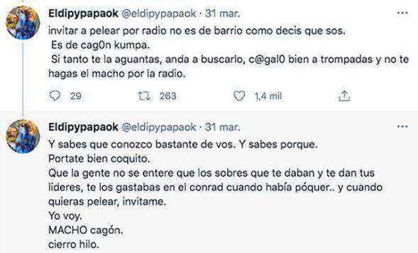 Este es el hilo que El Dipy escribió a Coco Sily y Estela de Carlotto