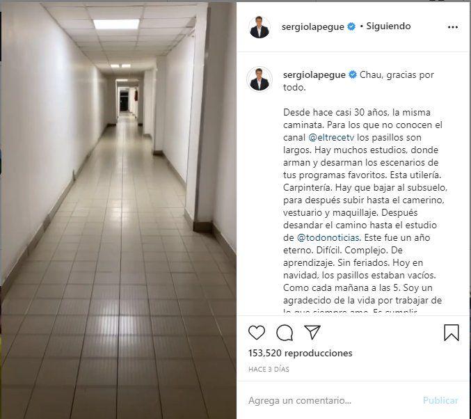 A través de las redes sociales el periodista Sergio Lapegüe se despidió de la pantalla