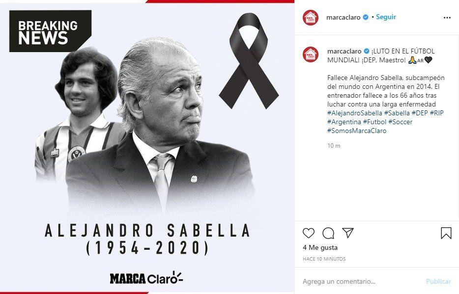 En redes sociales varios medios se hicieron eco de la noticia del fallecimiento de Alejandro Sabella