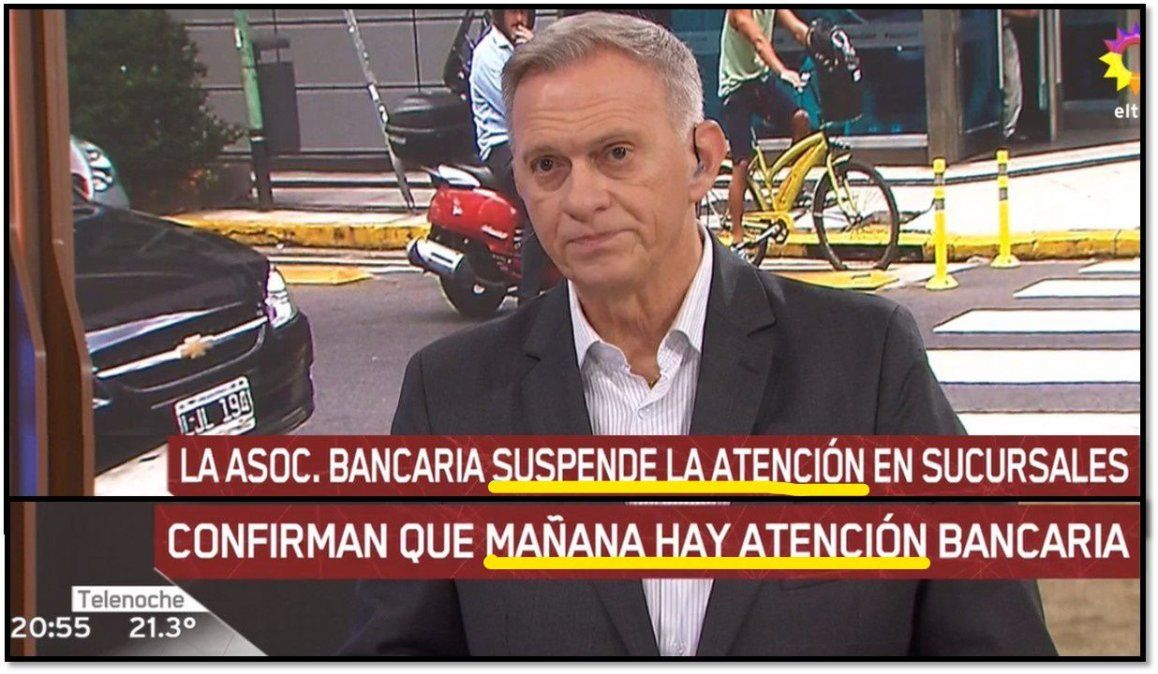 Papelón en Telenoche: alertaron sobre noticias falsas; al instante Bonelli dijo que hoy no abrían los bancos y era mentira