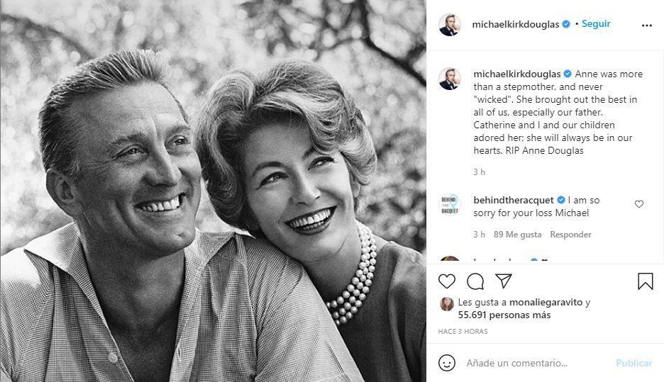 Este es el posteo que el actor Michael Douglas le dedicó a su madrastra Anne Buydens