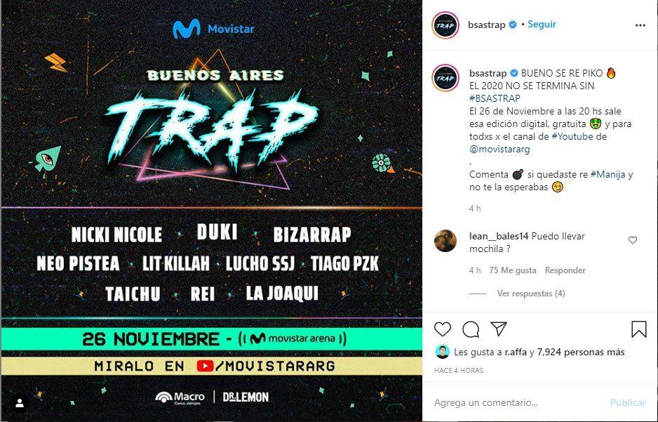 La fecha del evento se anunció a través de las redes sociales del Festival Buenos Aires Trap Digital
